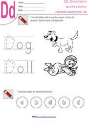 d beginning consonant sound worksheet - Worksheet For Nursery