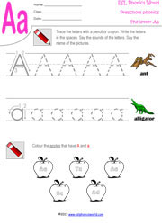 Preschool Worksheets, Letters A-Z Tracing Kindergarten Phonics
