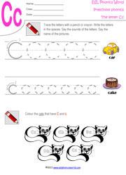 preschool worksheets  letters az tracing kindergarten phonics lettercpreschoolworksheet