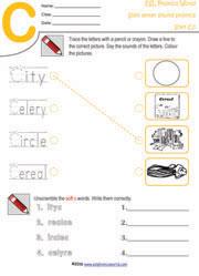 ESL Phonics World   Soft Letter C and G Worksheets